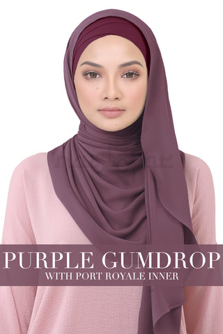 BE LOFA INSTANT KOREAN CHIFFON - PURPLE GUMDROP WITH PORT ROYALE INNER