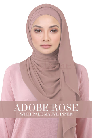 BE LOFA INSTANT KOREAN CHIFFON - ADOBE ROSE WITH PALE MAUVE INNER