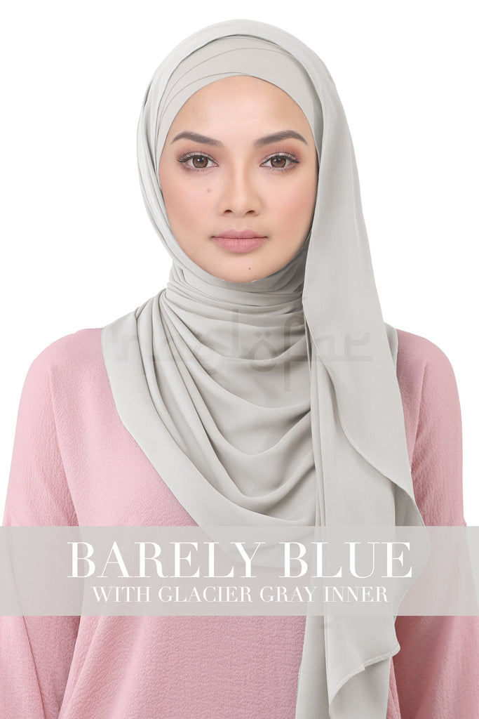 BE LOFA INSTANT KOREAN CHIFFON - BARELY BLUE WITH GLACIER GRAY INNER