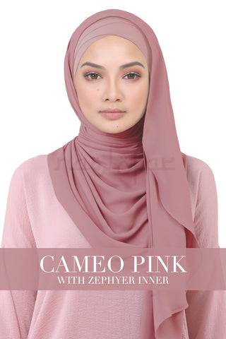 BE LOFA INSTANT KOREAN CHIFFON - CAMEO PINK WITH ZEPHYR INNER