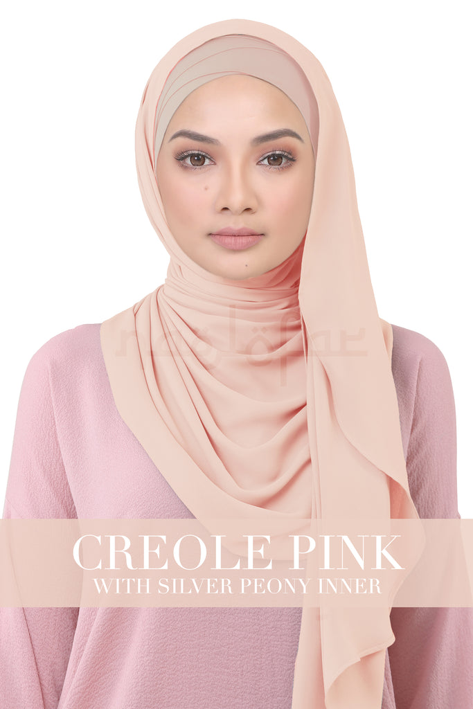 BE LOFA INSTANT KOREAN CHIFFON - CREOLE PINK WITH SILVER PEONY INNER