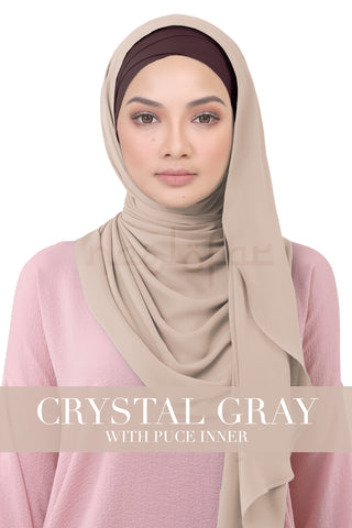 BE LOFA INSTANT KOREAN CHIFFON - CRYSTAL GRAY WITH PUCE INNER