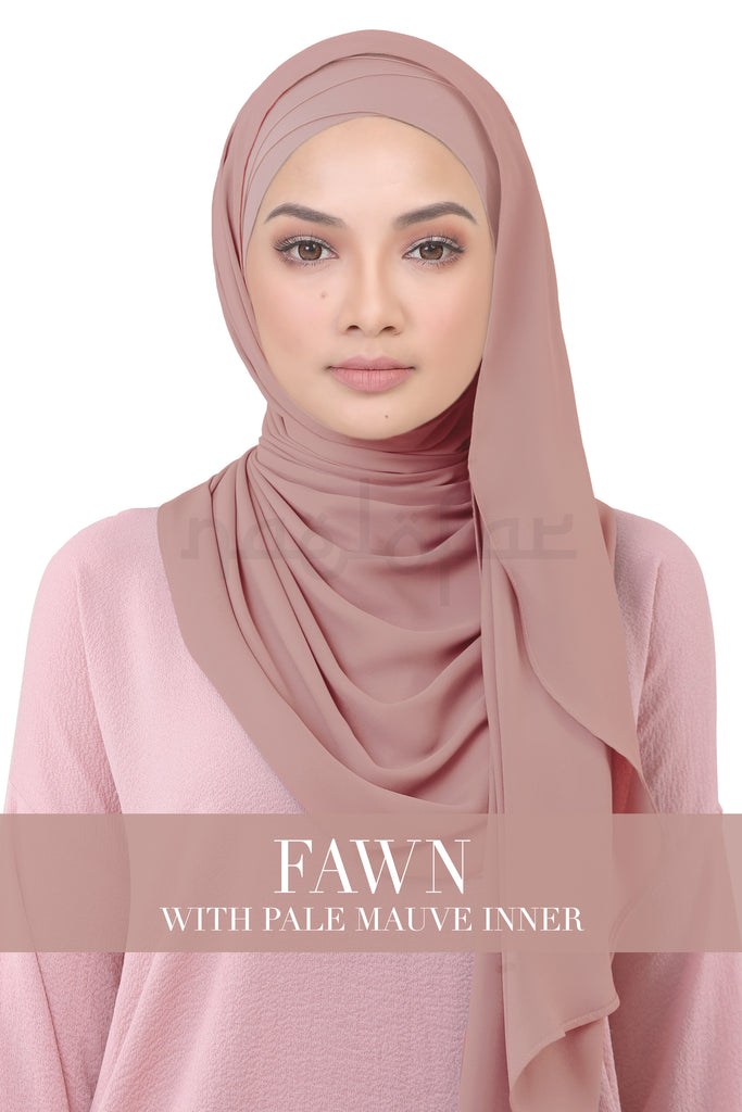 BE LOFA INSTANT KOREAN CHIFFON - FAWN WITH PALE MAUVE INNER