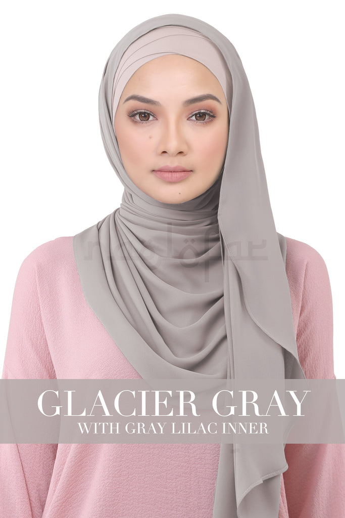 BE LOFA INSTANT KOREAN CHIFFON - GLACIER GRAY WITH GRAY LILAC INNER