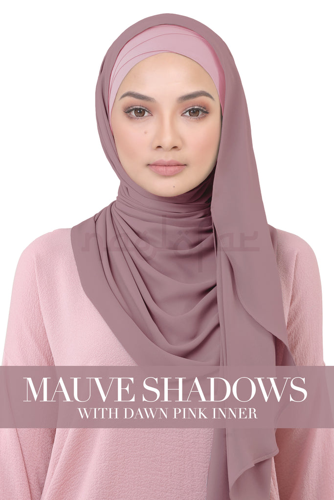 BE LOFA INSTANT KOREAN CHIFFON - MAUVE SHADOWS WITH DAWN PINK INNER