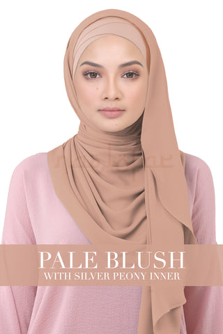 BE LOFA INSTANT KOREAN CHIFFON - PALE BLUSH WITH SILVER PEONY INNER