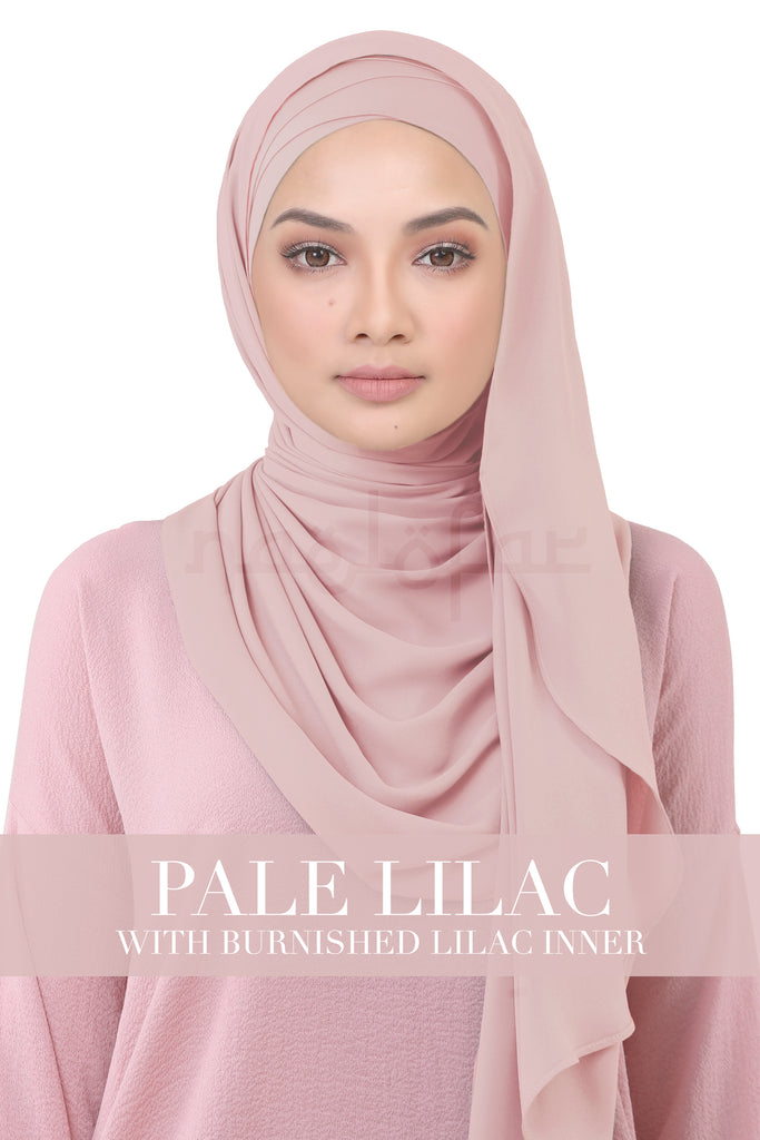 BE LOFA INSTANT KOREAN CHIFFON - PALE LILAC WITH BURNISHED LILAC INNER