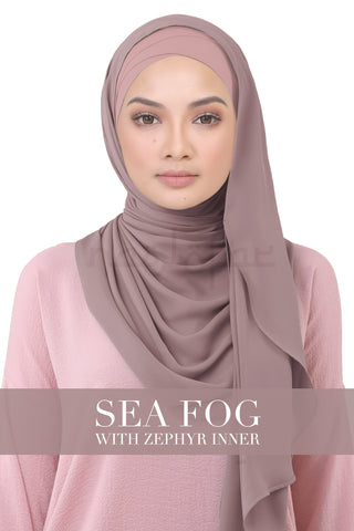 BE LOFA INSTANT KOREAN CHIFFON - SEA FOG WITH ZEPHYR INNER