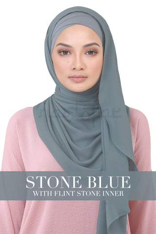 BE LOFA INSTANT KOREAN CHIFFON - STONE BLUE WITH FLINT STONE INNER