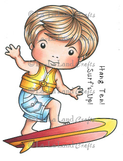 "La La Land Crafts ""Surfing Luka (with sentiments)"" Rubber Stamp"