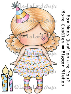 "La La Land Crafts ""Paper Doll Marci Birthday (with sentiments)"" Rubber Stamp"