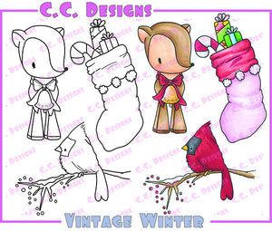 "CC Designs Animal Crackers *RETIRED* ""Vintage Winter"" Rubber Stamp"