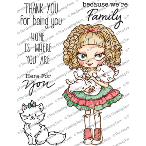 "The Greeting Farm ""Dollie With Kitty"" Rubber Stamp"