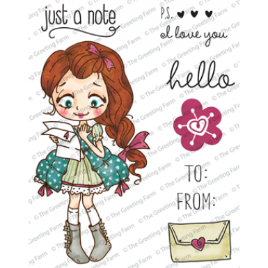 "The Greeting Farm ""Dollie With Letter"" Rubber Stamp"