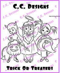 "C.C. Designs Drozy's Darlings ""Trick or Treaters"" Rubber Stamp"