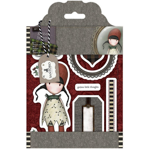 "Santoro/Docrafts Gorjuss Tweed ""Holly"" Rubber Stamp Set"