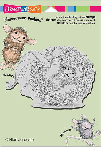 "Stampendous/House Mouse ""Wreath Rolling"" Cling Rubber Stamp"