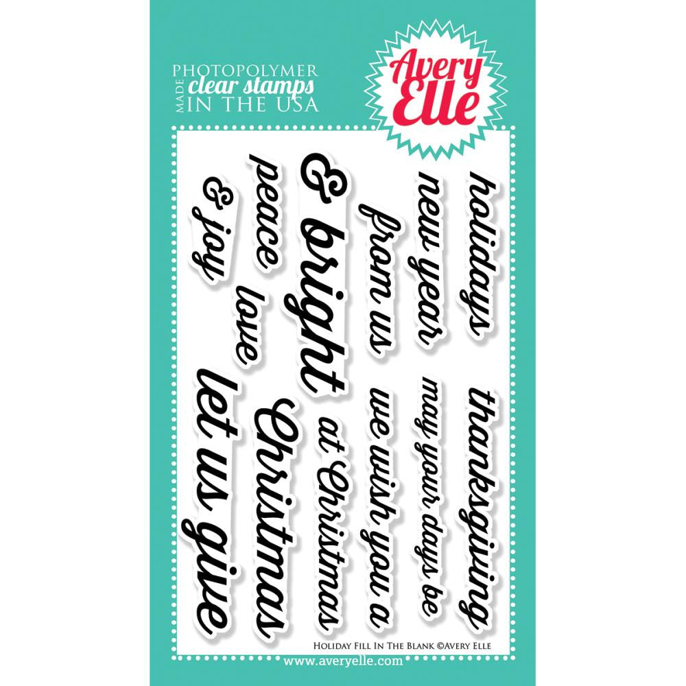 "Avery Elle ""Holiday Fill-In the Blank"" Clear Stamp Set"