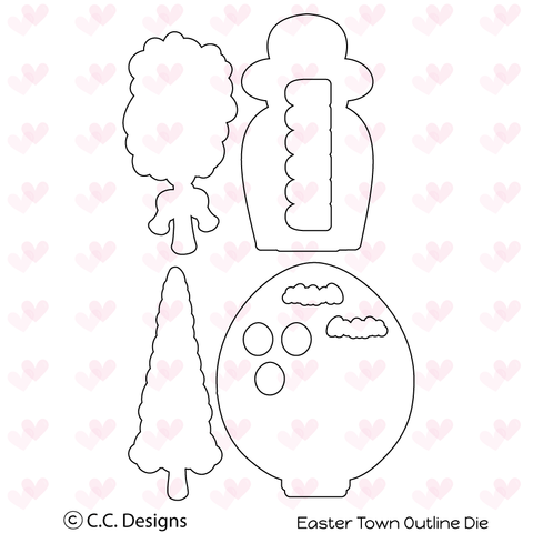 "CC Designs ""Easter Town"" Outline Die"