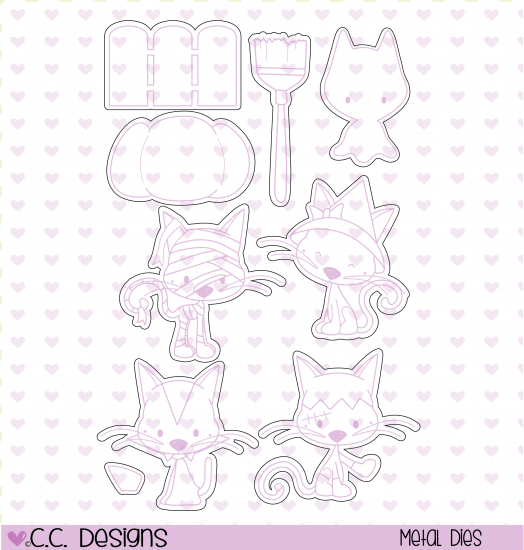 "CC Designs ""Meow-lloween Kitties"" Outline Dies"