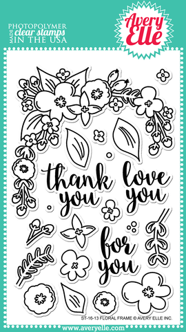 "Avery Elle ""Floral Frame"" Clear Stamp Set"