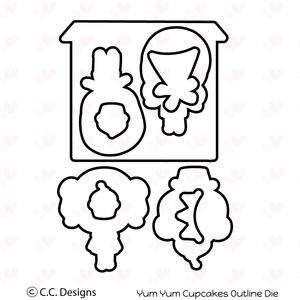 "*NEW* CC Designs ""Yum Yum Cupcake"" Metal Outline Dies"