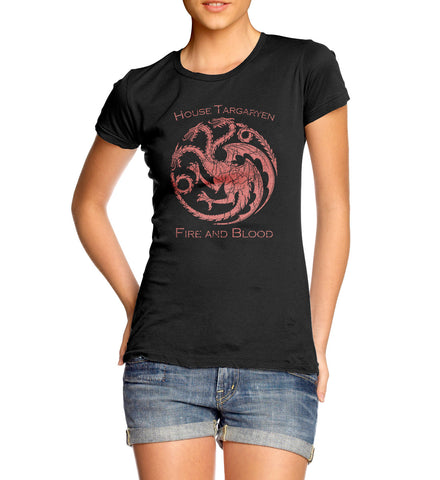 womens game of thrones house targaryen dragon red style t-shirt