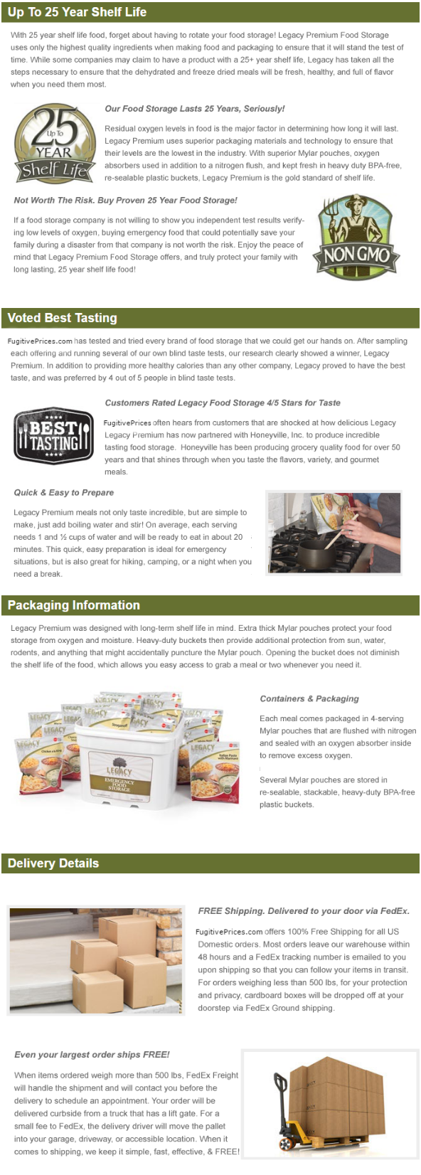 MEAL PACKAGING AND DELIVERY INFORMATION