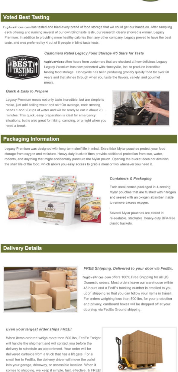 PRODUCT PACKAGING AND DELIVERY DETAILS