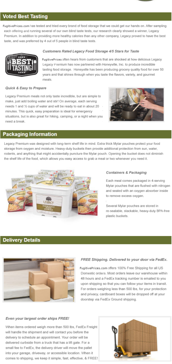 PACKAGING AND DELIVERY DETAILS