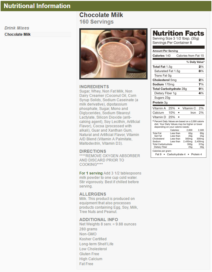 CHOCOLATE MILK NUTRITIONAL INFORMATION