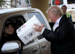 President Donald Trump handing out SurvivalFoodNow.com Food Buckets to Hurricane Harvey Survivors