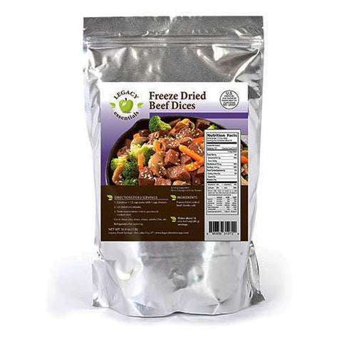 16 Servings - 1 lb Freeze-Dried Diced Beef