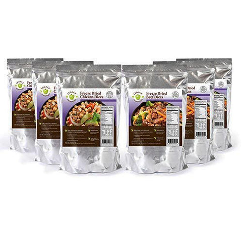 Freeze-Dried Diced Meat Variety 6 pack - Beef & Chicken