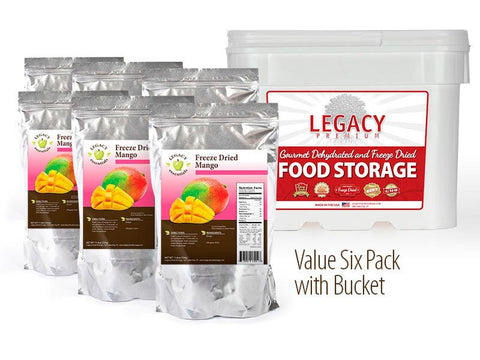 42 Servings Freeze-Dried Mango Pouch - 6 pack w/bucket
