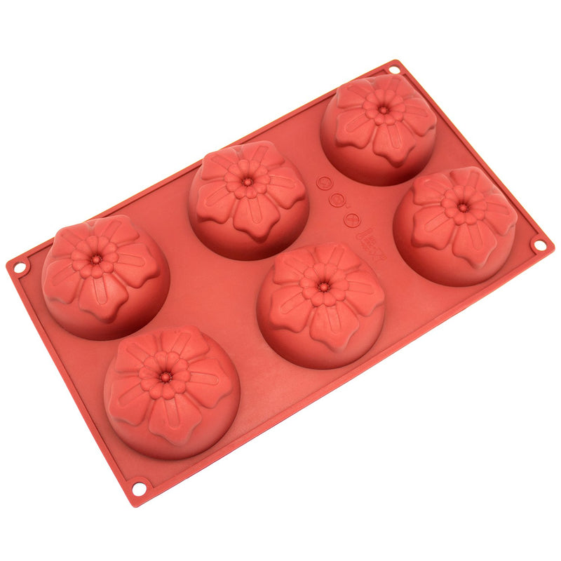 Freshware Silicone Mold, Soap Mold for Pudding, Muffin, Cupcake, Cheesecake and Soap, Cherry Flower, 6-Cavity