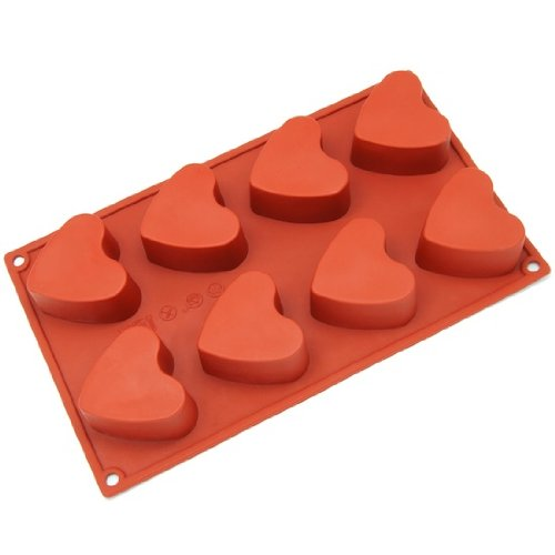 Freshware Silicone Mold, Soap Mold for Cupcake, Muffin, Pudding, Cheesecake, Jello Shot and Soap, Heart, 8-Cavity