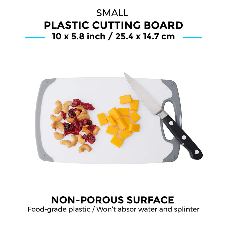 Freshware Plastic Cutting Board Set with Juice Grooves with Easy-Grip Handles, Plastic Chopping Board for Kitchen, BPA-Free, Non-Porous, Dishwasher Safe