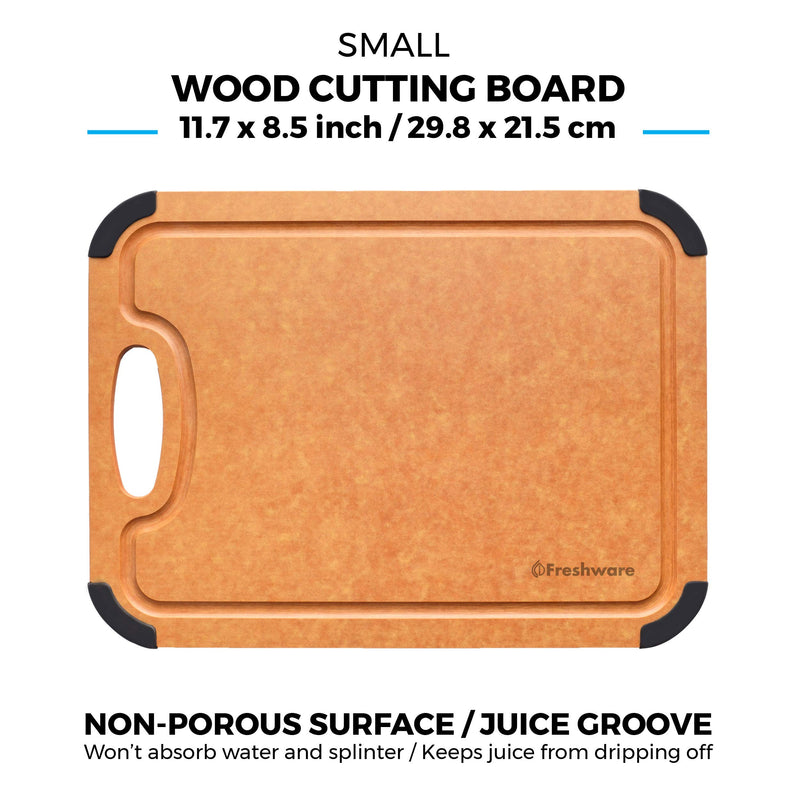 Cutting Board for Kitchen Dishwasher Safe, Wood Fiber Cutting Board, Eco-Friendly, Non-Slip, Juice Grooves, Non-Porous, BPA Free, Natural Slate
