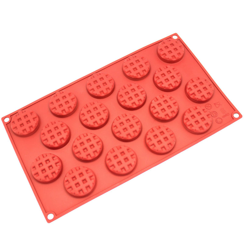 Silicone Chocolate Candy Molds [Round Waffle, 18 Cup] - Non Stick, BPA Free, Reusable 100% Silicon & Dishwasher Safe Silicon - Kitchen Rubber Tray For Ice, Crayons, Fat Bombs and Soap Molds