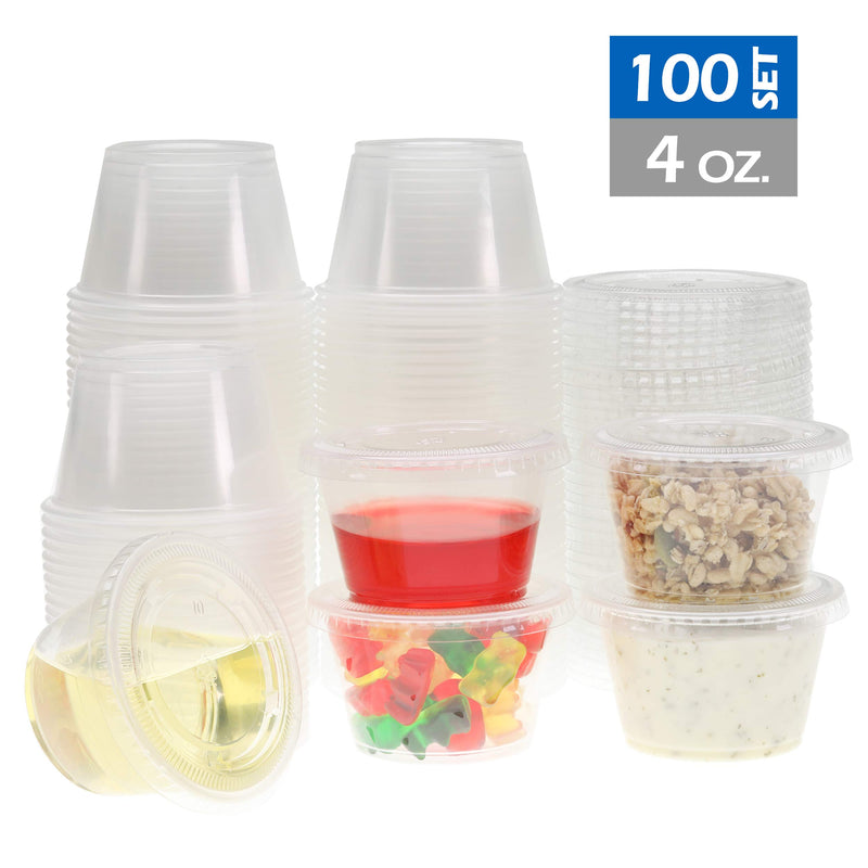 Freshware Plastic Portion Cups with Lids, Souffle Cups, Jello Shot Cups, Condiment Sauce Containers For Sampling, Sauce, Snack or Dressing