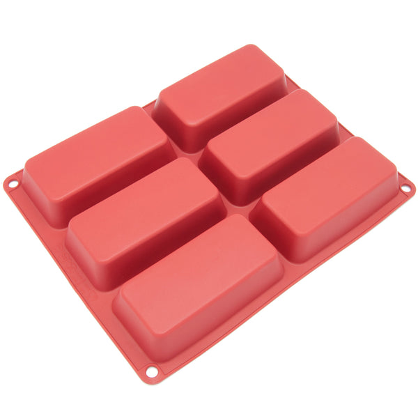 6-Cavity Silicone Small Loaf, Muffin, Brownie, Cornbread, Cheesecake, Panna Cotta, Pudding, Jello Shot and Soap Mold