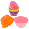 12-Pack Silicone Standard Round Reusable Baking Cup, Six Vibrant Colors
