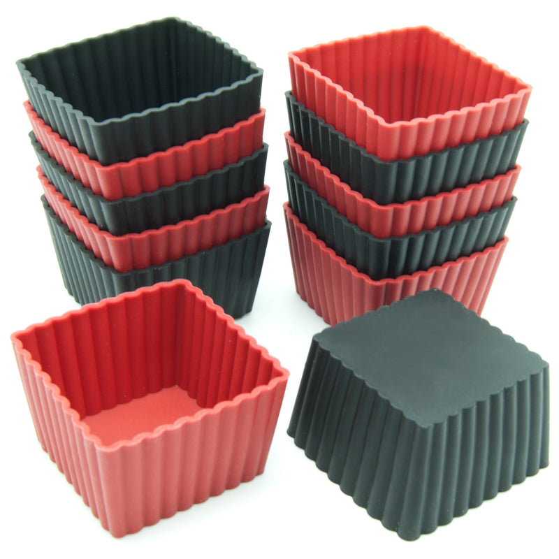 12-Pack Silicone Mini Square Reusable Baking Cup, Black and Red Colors