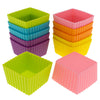 12-Pack Silicone Mini Square Reusable Baking Cup, Six Vibrant Colors