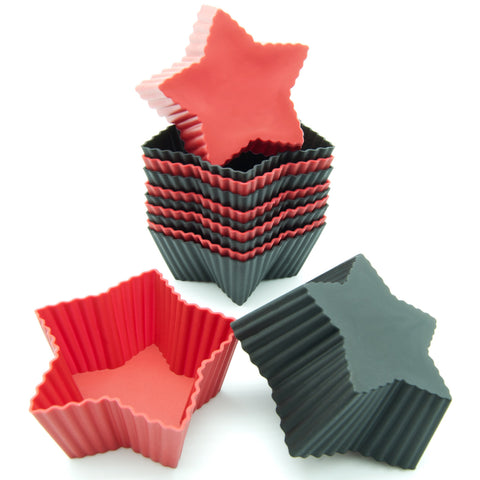 12-Pack Silicone Mini Star Reusable Baking Cup, Black and Red Colors