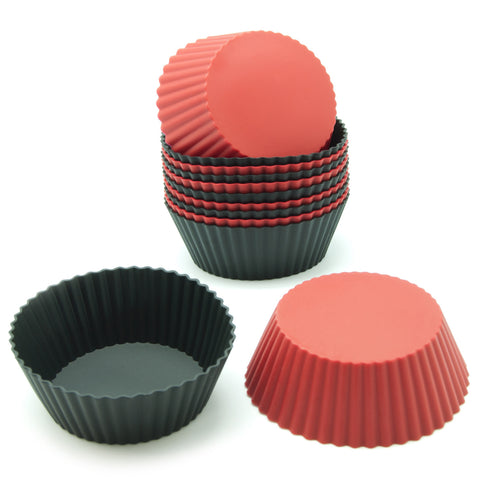 12-Pack Silicone Mini Round Reusable Baking Cup, Black and Red Colors