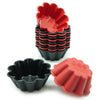 12-Pack Silicone Flower Reusable Baking Cup, Black and Red Colors