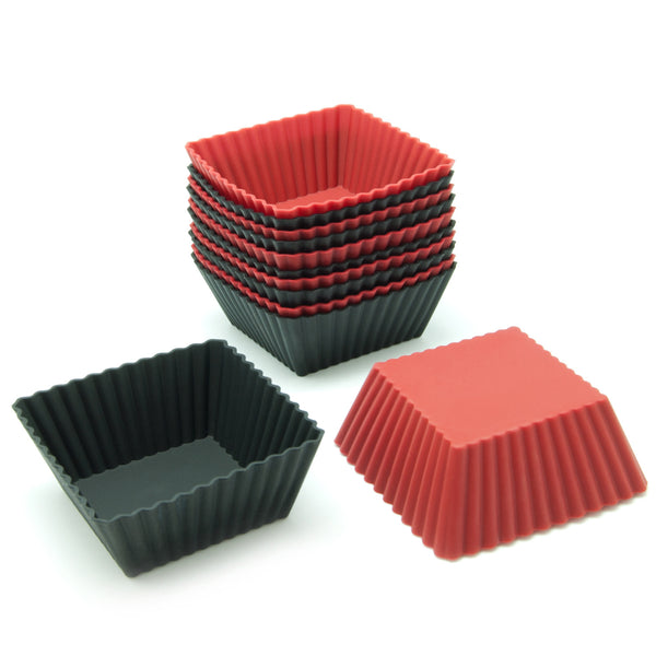 12-Pack Silicone Square Reusable Baking Cup, Black and Red Colors