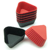 12-Pack Silicone Mini Triangle Reusable Baking Cup, Black and Red Colors